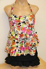 NWT Island Escape Swimsuit Tankini 2pc Set Skirt Sz 10 Bandini Pink BLK RUFFLE