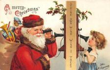 Santa Claus, Telephone Clapsaddle Artist-Signed 1907 Vintage Christmas Postcard