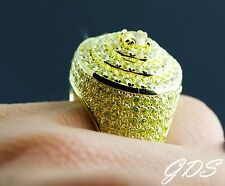Men 925 Yellow Sterling Silver Round Lollipop Ring Yellow Simulated Lab Diamond