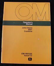 ORIGINAL JOHN DEERE 6601 COMBINE OPERATORS MANUAL VERY CLEAN
