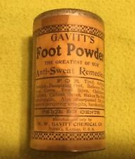 1906 ~ Foot Powder ~ GAVITT's ~ Container ~ Cardboard ~ Tin Lid ~ Full