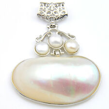 Best Jewelry For Mom Royal Shell White Pearl Gems Solid Silver Necklace Pendant