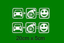 2x Auto + Turbo Fun Aufkleber Sticker Schrift PKW LKW AUTO Scheibe Tuning