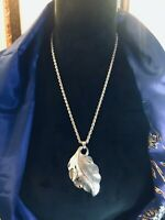 💛 Vintage Silver Mirror Spirit Bohemian Leaf Pod Hippie Pendant & Necklace Duo