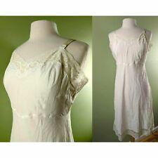 Vintage Barbizon White Excelle Full Dress Slip, 60s Embroidered Lingerie, Sz 16