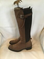 MODA IN PELLE Brown Distressed LEATHER Flat Riding BOOTS Size 37 Size 4