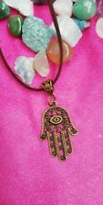 Bronze Hamsa Pendant With Brown Leather Thong