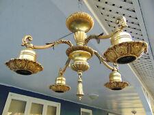 Original Victorian-Art Deco High Quality Gold Ceiling Light Fixture Signed Nice!