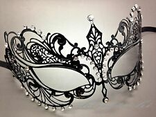 Charming Princess Laser Cut Venetian Black Masquerade Mask with Crystal