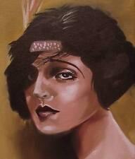 Dipinto originale olio su tela ritratto da Gregory Tillett: bobbed anni 1920 20