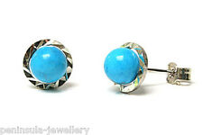 9ct White Gold Turquoise Stud Earrings Gift Boxed Studs Made in UK Xmas