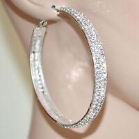 ORECCHINI donna ARGENTO cerchi STRASS cristalli brillanti eleganti cerimonia F91