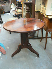 ancienne table gueridon acajou flammé epoque empire 19eme siecle pied central