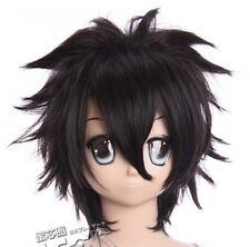 W-266 fairy tail grey KATEKYO Xanxus Cosplay Nero Black PARRUCCA WIG ANIME