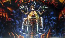 SKELETON MOTORCYCLE FLAG 5X3 skull pirate goth metal
