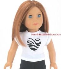 Zebra Print Heart White T-Shirt Fits 18 in American Girl Doll Clothes