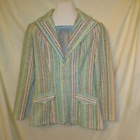 Vintage H Bar C California Ranchwear Western Blazer Women Size L Pastel Stripes