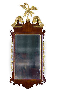 SWC-Fine Chippendale Mahogany Parcel Gilt Mirror with Phoenix Finial, c.1780