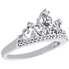 Right Hand Cocktail Ring 0.20 Ct. 14K White Gold Diamond Queen Crown Filigree