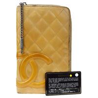 Auth CHANEL Cambon Organizer Zipper Bifold Wallet Purse Leather Beige 07BS472