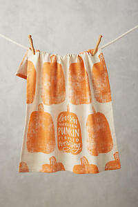 NWT Anthropologie Embroidered Pumpkin Tea Towel