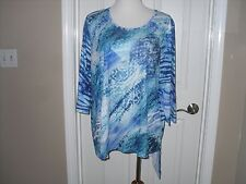 Chico's Masterful Mix SYD Splice Asymmetrical Top/Blouse Size 2=12/14 Large NWT