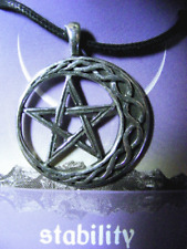 WICCA Stability Amulet PENTACLE Crescent Moon PENDANT with a black necklace cord