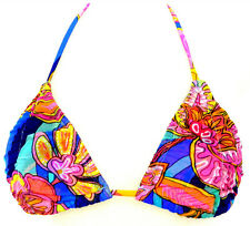 Raisins Junior Small Blue Floral Mesh Overlay Shirred Bikini Swimsuit TOP NWT S