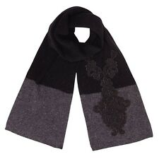 Alice Hannah Ladies Girls Long Warm Lace Colour Block Scarf In Black & Grey
