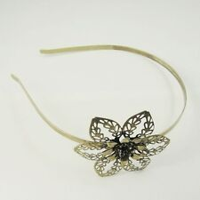 2X Vintage Style Bronze Tone Iron Flower Hair Band Jewellry Findings 140*120*6mm