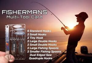 Fisherman 22 in 1 Survival Card Fishing Tool Set Large Small Hooks Spoons Saw