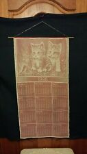 vtg large wall hanger 1986 kitty cats calendar lace with red satin background