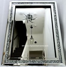 Diamond Crush Crystal Sparkly Silver Wall Mirror 60X80cm Bevelled Rectangular