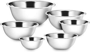 Deep Mixing Bowl Cooking Baking Salad Serving Stainless Steel Bowl Flat Base