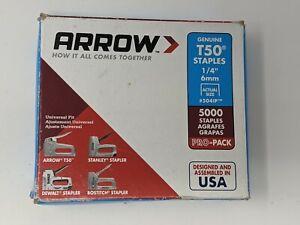 "Arrow Genuine T50 Staples 1/4"" 6mm #504IP Pack of 5000 Pro-Pack [READ]"