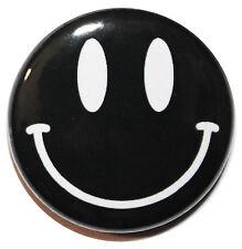 "1"" (25mm) Black Smiley Button Badge Pin - High Quality Custom Badge"