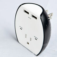 USB Wall Charger 2-Port Outlet Socket Adapter with Wall Mount Surge Protector