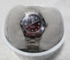 TAG Heuer WAF141C Stainless BLACK dial DIAMOND Lady's AQUARACER watch