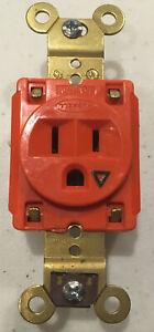 Hubbell HBL5261 ORANGE Single Industrial Receptacle 15 Amp 125 Volt
