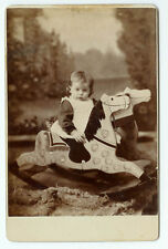 SUPERIOR COMPOSITION!!! VINTAGE RARE!: Child and Rocking Horse Cabinet Cad