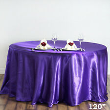 "1 pc Purple 120"" ROUND Satin TABLECLOTH Wedding Party Kitchen Tabletop Linens"