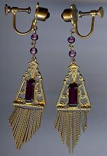 VINTAGE 1930'S CZECH GOLD TONE PURPLE RHINESTONE GLASS SCREWBACK DANGLE EARRINGS
