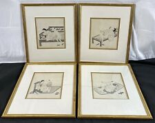 Rare Group of Antique 19th C. Qing Chinese Erotic Watercolor Paintings Framed