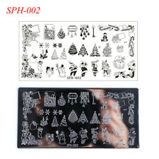 Christmas Halloween Manicure Rectangle Nail Art Stamping Template Plates
