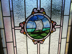 ~ ANTIQUE STAINED GLASS WINDOWS TOP & BOTTOM WITH SAILBOAT ~ SALVAGE ~