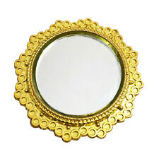 Dollhouse Gold Rimmed Round Mirror 1:12 Miniature Decor Rimmed Accessory