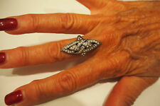Sterling Silver Art Deco Crystal Ring Size 7