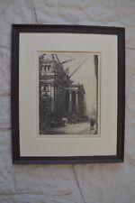 19th cent. early 20th original engraving cityscape construction Neoclassical