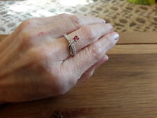 BRAND NEW 18K WHITE GOLD FILLED RING WITH RUBY AND  DIAMOND  LOOK STONES SIZE O