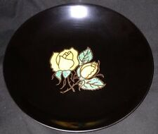 "7"" Vtg Couroc Monterey CA shallow bowl Inlaid Brass Yellow Rose flower Phenolic"